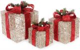 Набір декоративних подарунків - 3 коробки 15х20см, 20х25см, 25х30см з LED-підсвіткою, шампань з червоними бантами