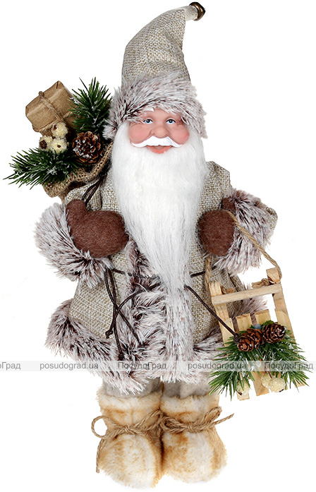 """Декоративна фігура """"Санта з саночками"""" 30см, бежевий"""