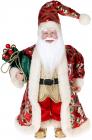 """Декоративна фігура """"Санта з мішком"""" 30см, червоний зі смарагдом"""