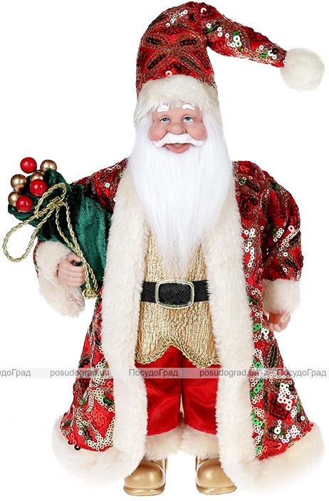"""Декоративная фигура """"Санта с мешком"""" 30см, красный с изумрудом"""