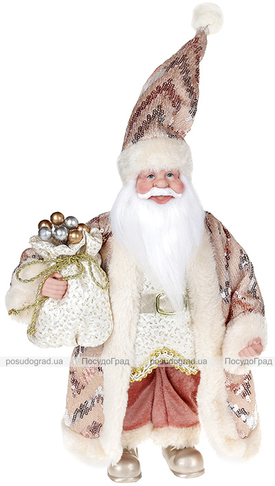 """Декоративна фігура """"Санта з мішком"""" 30см, рожевий"""
