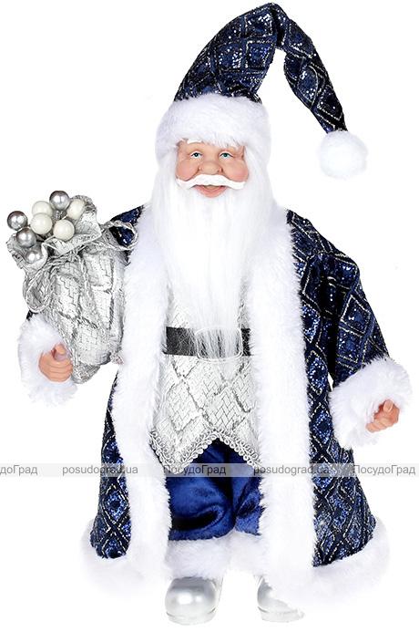 """Декоративна фігура """"Санта з мішком"""" 30см, синій"""