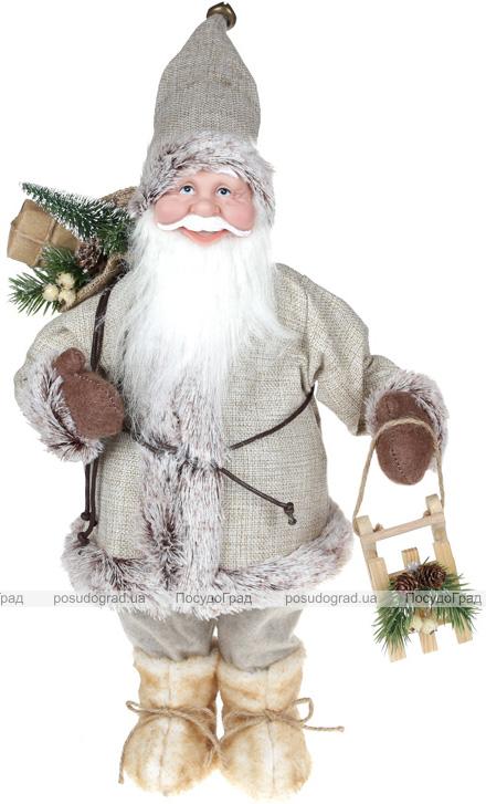 """М'яка іграшка """"Веселий Санта з подарунками"""" 45см, бежевий"""