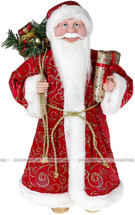 """Декоративна фігура """"Санта з подарунками"""" 45см, червоний з золотистим"""