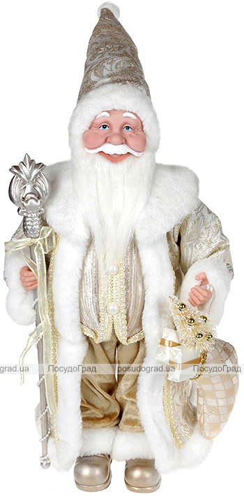 """Декоративна фігура """"Санта з посохом"""" 45см, шампань"""