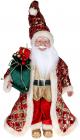 """Декоративна фігура """"Санта з мішком"""" 45см, червоний зі смарагдом"""