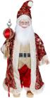 """Декоративная музыкальная фигура """"Санта с посохом"""" 60см, красный с золотым"""