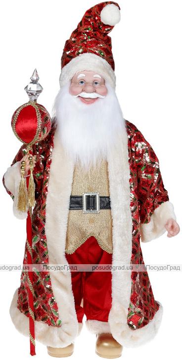 """Декоративна музична фігура """"Санта з посохом"""" 60см, червоний з золотим"""