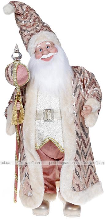 """Декоративна музична фігура """"Санта з посохом"""" 60см, рожевий"""