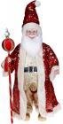 """Декоративная музыкальная фигура """"Санта с посохом"""" 60см, красный с пайетками"""