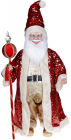 """Декоративна музична фігура """"Санта з посохом"""" 60см, червоний з паєтками"""