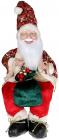 """Декоративна фігура """"Санта з мішком"""" 40см, червоний зі смарагдом, сидячий"""