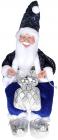 """Декоративная фигура """"Санта с мешком"""" 40см, синий, сидячий"""