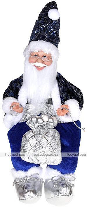 """Декоративна фігура """"Санта з мішком"""" 40см, синій, сидячий"""