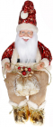 """Декоративна фігура """"Санта з мішком"""" 40см, червоний з золотим, сидячий"""