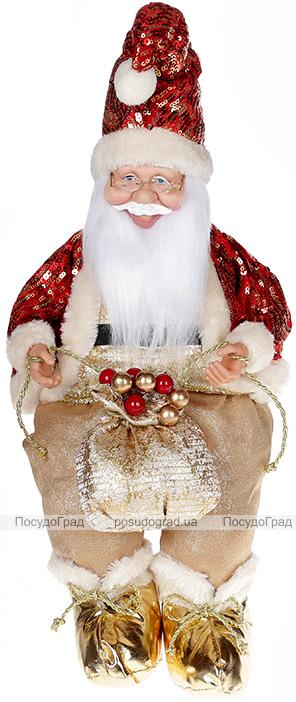 """Декоративная фигура """"Санта с мешком"""" 40см, красный с золотым, сидячий"""