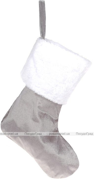 """Носок для подарков """"Серебристые узоры"""" 43см с пайетками"""