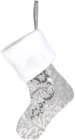 """Носок для подарунків """"Сріблясті візерунки"""" 43см з паєтками"""
