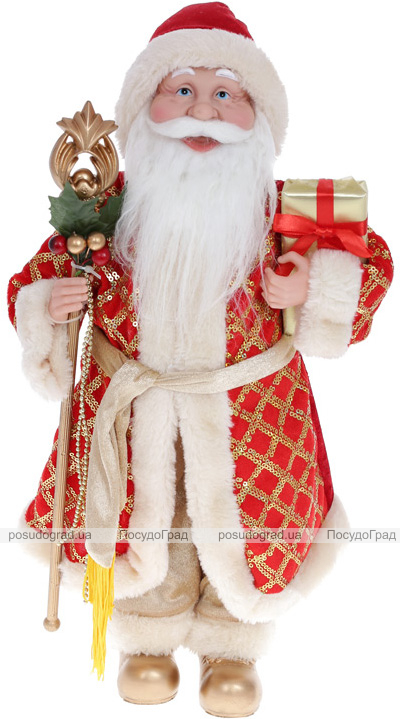 """Мягкая игрушка """"Санта с посохом"""" 44см, красный с золотом"""