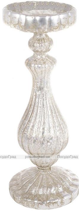 """Підсвічник скляний Mairenn """"Шампань антік"""" 10.5х28см"""