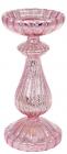 """Підсвічник скляний Mairenn """"Рожевий антік"""" 10.8х24см"""