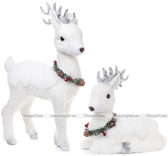 """Новорічний декор """"Білий олень з вінком"""" 42см"""