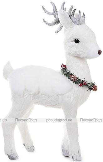 """Новогодний декор """"Белый олень с венком"""" 42см"""