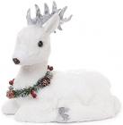 """Новорічний декор """"Білий олень з вінком"""" 26см"""