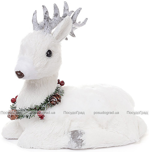 """Новогодний декор """"Белый олень с венком"""" 26см"""