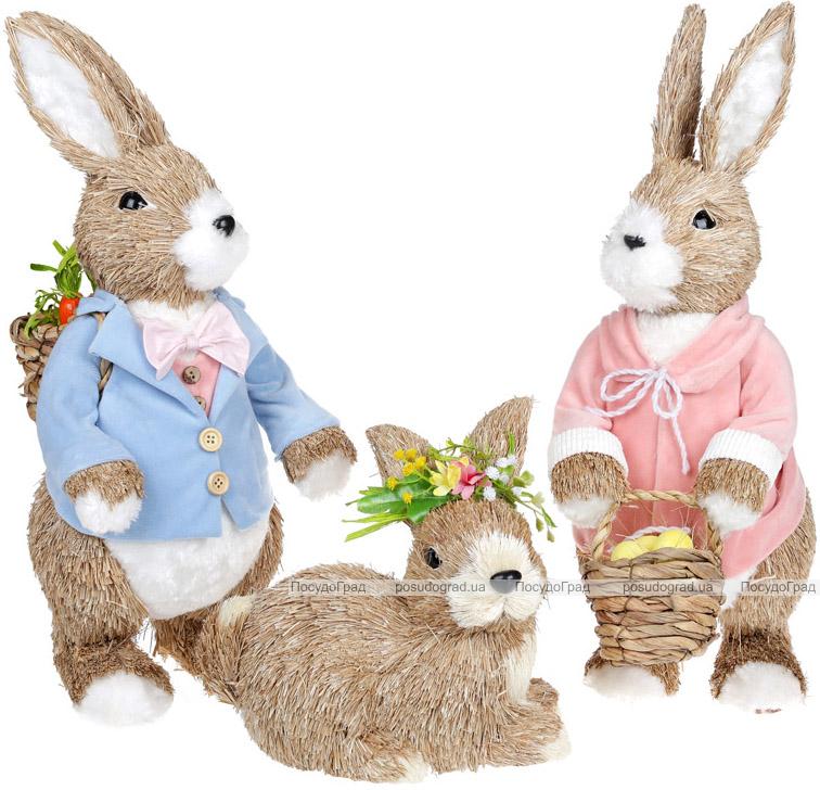 """Декоративна фігура """"Кролик з віночком"""" 23х15х21см, пінопласт"""