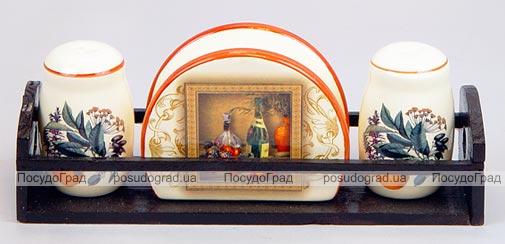 """Набор для специй """"Мадрид"""" два спецовника и салфетница на деревянной подставке"""