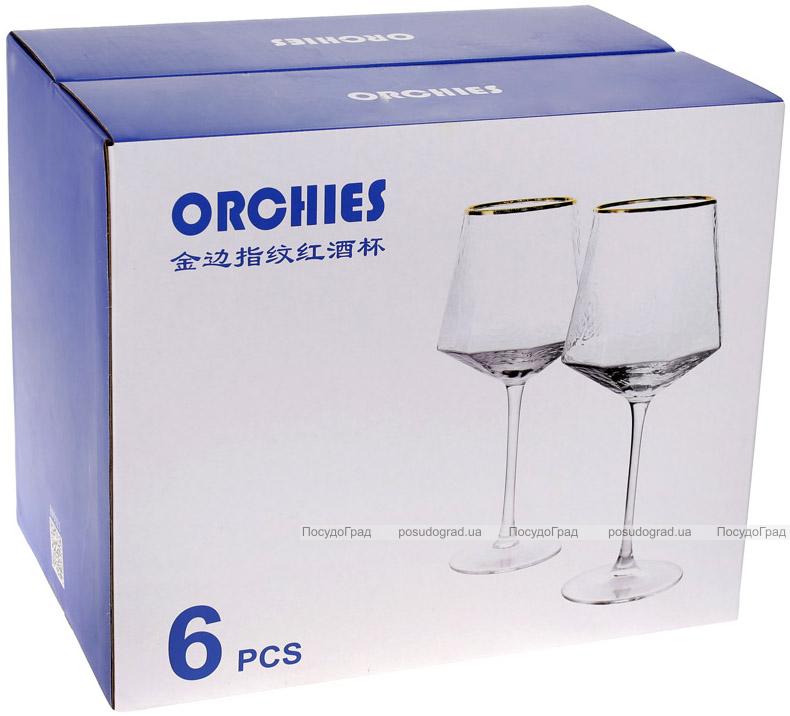 Набір 6 фужерів Monaco Ice келихи для вина 450мл, скло із золотим кантом