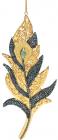 """Набор 4 подвесные фигурки """"Перо Павлина"""", 8х1х18см, темно-синий с золотом"""