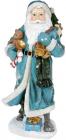 """Фигура """"Санта с колокольчиками"""" 21х18.5х45см, полистоун, бирюза с серебром"""