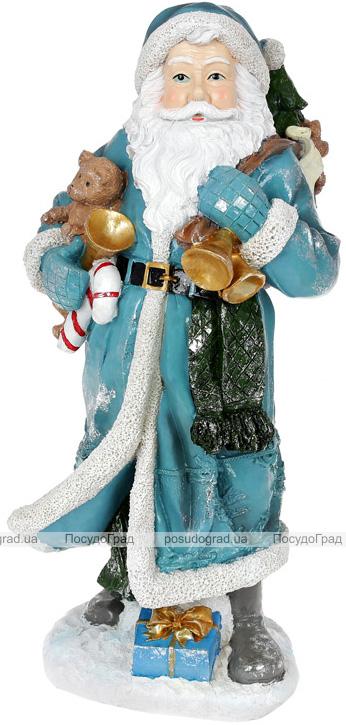 """Фігура """"Санта з дзвіночками"""" 21х18.5х45см, полістоун, бірюза зі сріблом"""