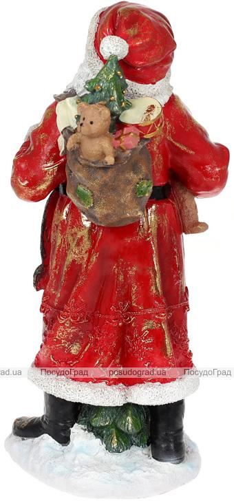 """Фигура """"Санта с колокольчиками"""" 21х18.5х45см, полистоун, красный с золотом"""