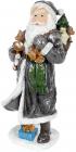"Фигура ""Санта с колокольчиками"" 21х18.5х45см, полистоун, графит с серебром"