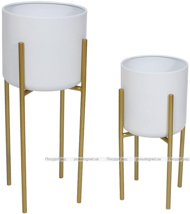 """Набор 2 металлических кашпо """"Ravenna"""" на подставке 42 и 57см, белый"""