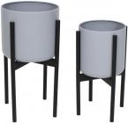 """Набор 2 металлических кашпо """"Ravenna"""" на подставке 38 и 46см, серый"""