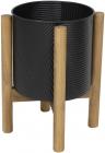 """Металлическое кашпо """"Ravenna"""" на деревянной подставке 42см, черное"""