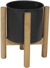 """Металеве кашпо """"Ravenna"""" на дерев'яній підставці 35см, чорне"""