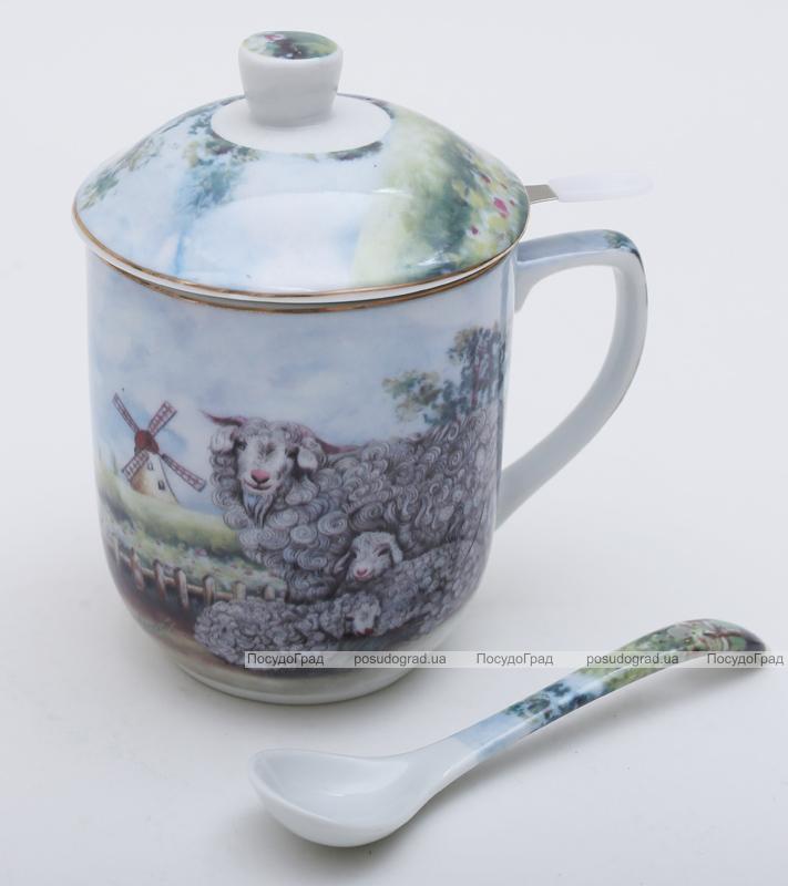 """Кружка-заварник """"Овечки на лугу"""" 300мл с чайной ложкой"""
