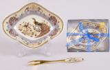 Икорница фарфоровая с позолоченной вилочкой Павлин Sea Food 14см