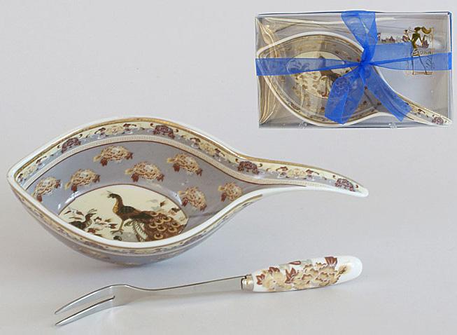 Икорница фарфоровая с серебристой вилочкой Павлин Sea Food 15см