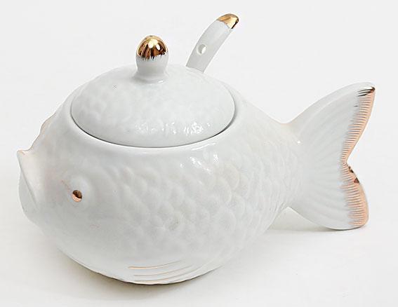 Икорница фарфоровая с ложкой Рыба Sea Food 15 см