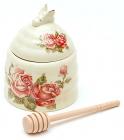 """Банка для меду Cream Rose """"Корейська Троянда"""" Ø10х12.5см з дерев'яною ложкою-булавою"""