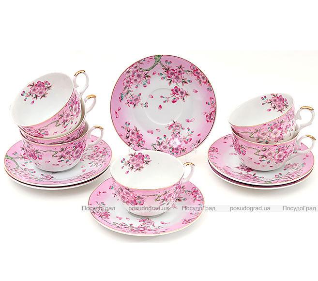 """Чайный сервиз """"Яблоневый цвет"""" 6 чашек 250мл и 6 блюдец"""