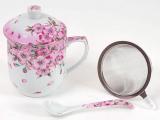 """Кружка-заварник """"Яблуневий цвіт"""" 300мл з металевим фільтром і керамічною ложкою"""