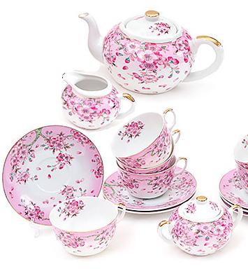 """Большой чайный сервиз """"Яблоневый цвет"""" 250мл 15 предметов на 6 персон"""