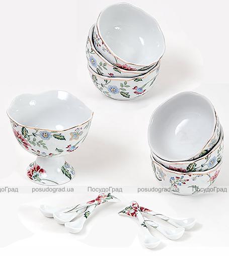 """Набор """"Альпийский сад"""" креманка, 6 пиалок и 6 ложечек"""